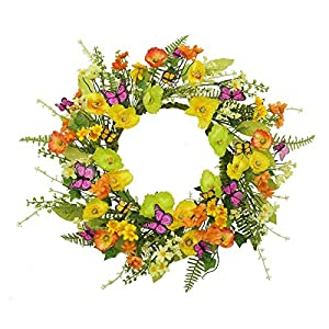 90sMuse Mothers Day Wreath, 18Inch Daisy Wreaths Spring Wreath for Front Door ,Artificial Flower Wreath -Silk Floral with Carnation & Fern Leaves Hanging Oranaments Wedding Party Decor
