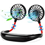 Black Olive Portable Neck Fan, Hand Free Personal Mini Fans USB Rechargeable,360 Degree Free Rotation for Traveling, Sports, Office, Reading (3 Speed Adjustable, Headphone Design) MULTICOLOR