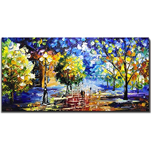 V-inspire Art, 24X48 Inch Oil Paintings, Street Color at Night. Abstract Canvas Art, 100% Hand-Painted Bedroom Living Room Hanging Oil Paintings Wall Art Decorations