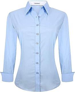 Womens Button Down Shirts Long Sleeve Cotton Stretch Regular Fit Work Blouse
