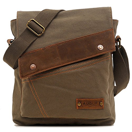 Aibag Messenger Bag, Vintage Small Canvas Shoulder Crossbody Purse (Army Green)