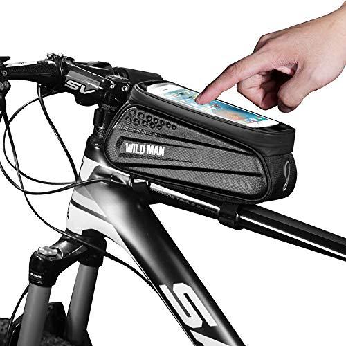 WILDMAN Fahrrad Rahmentasche Handyhalterung ideal fürs Navi - Fahrradtasche mit Kopfhörerloch mit Fingerabdrucksensor-Unterstützung, wasserdicht, L, Black