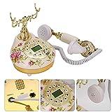 Vipxyc Teléfono de Moda Antiguo, teléfono Fijo de Escritorio de Estilo Europeo de cerámica Rosa Retro FSK/DTMF para decoración del hogar/Hotel