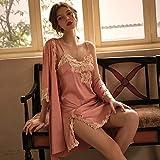 Pijama De Satén para Mujer,Moda Rosa Sexy Novia Y Dama De Honor Boda Juego De Lencería Y Bata, Pijama De Encaje Pijama, Sedoso Suave Ropa De Hogar Elegante Y Cómodo, XL