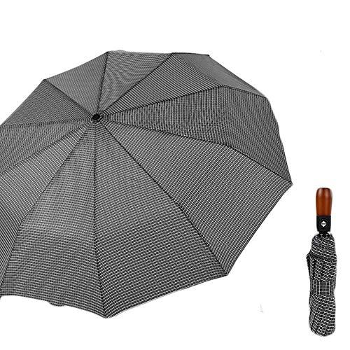 ZHANGYY Folding Umbrella Ten Bone Windproof Umbrella Three Fold Automatic Sunny Umbrella Folding Umbrella Male Business Solid Wood Striped Umbrella
