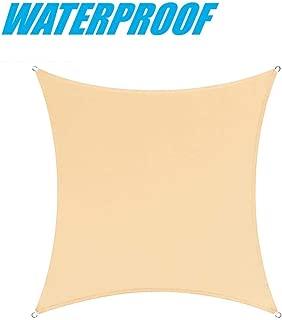 ColourTree 14' x 14' Beige Square 100% BLOCKAGE Commercial Standard Heavy Duty Waterproof Sun Shade Sail Canopy