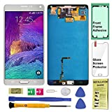 Display Touch Screen (AMOLED) Digitier Assembly with Stylus Sensor and Home Button for Samsung Galaxy Note 4 All Models (Unlocked) N9100 N910A N910V N910P N910T N910R4 N910W8 N910F N910H N910G (WHITE)