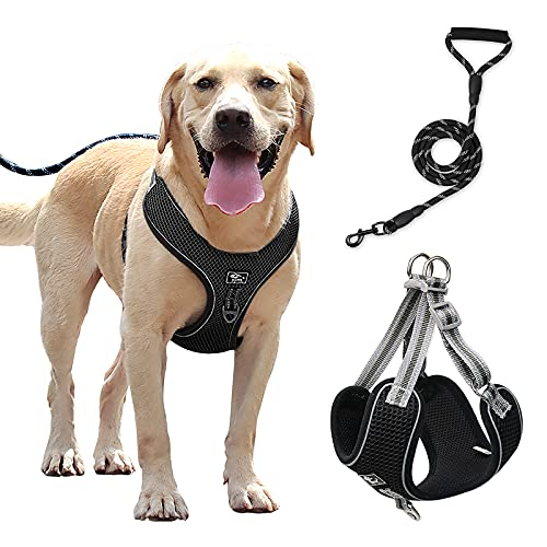 No Pull Dog Harness,Adjustable Reflective Oxford Easy Control Small and Medium Dogs Harness with A Free Heavy Duty 5ft Dog Leash(Black, XL)