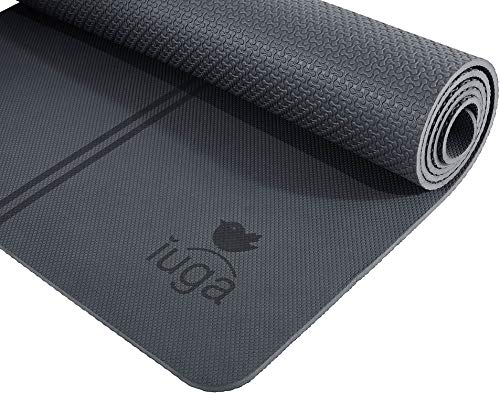 """IUGA Eco Friendly Yoga Mat with Alignment Lines, Free Carry Strap, Non Slip TPE Yoga Mat for All Types of Yoga, Extra Large Exercise and Fitness Mat Size 72""""X26""""X1/4"""""""