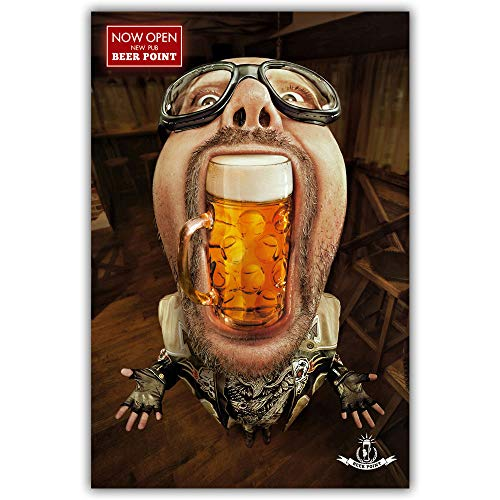 Cuadro En Lienzo Cerveza Moderna Bar Cartoon Retrato Figura Dibujo Pintura En Tela, Arte Imprimir Imagen De Póster Inicio Restaurante Bar Decoración Decoración De Pared,70X100Cm Sin Marco