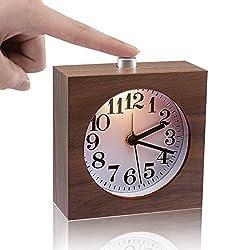 ECVISION Bedside Clock, Small Wooden Clock The Square Black Walnut Alarm Clock Silent Desk Snooze Clocks with Nightlight