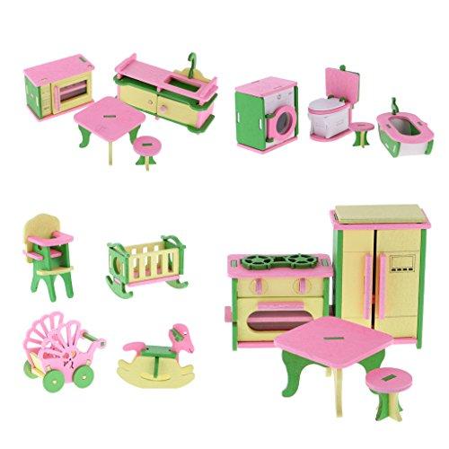 freneci Miniature di Mobili in Legno per Bambole da 16 Pezzi