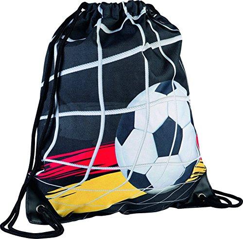 Brunnen Sport-Tasche/Turnbeutel/Jutebeutel/Rucksack Fußball - schwarz mit Reißverschluss-Innentasche - Größe (B x H x T): 37 x 44 x 1 cm - 10-4913238