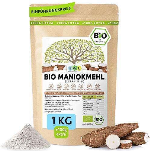 Maniokmehl Bio Cassava Mehl │1000g +100g extra XXL Vorteilspack 1,1kg│Paleo, Glutenfreies Mehl, Vegan, keine Gentechnik, kontrollierte Bio Qualität│kontrolliert und abgefüllt in Deutschland