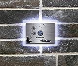 Beleuchtete Edelstahl Türklingeln mit Gravur und über 100 Motive   Gravierte Klingelplatte mit Led-Beleuchtung Größe: 12x9 cm Klingel-Taster Klingelschild Namen Modell: Weber-L