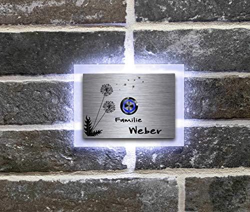 Beleuchtete Edelstahl Türklingeln mit Gravur und über 100 Motive | Gravierte Klingelplatte mit Led-Beleuchtung Größe: 12x9 cm Klingel-Taster Klingelschild Namen Modell: Weber-L