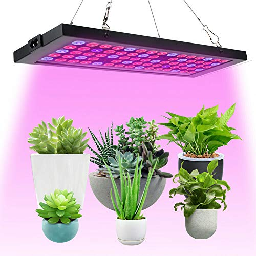 LED Grow Lights for Indoor Plants Full Spectrum Panel Plant Light 100W LED Grow Lamp with IR&UV for Greenhouse, Hydroponic, Veg, Succulents, Seedlings and Flower (75Pcs LEDs)