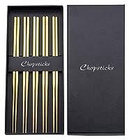 5対ステンレス鋼の箸セット、再利用可能な箸皿洗濯機の金庫、滑り止め金属箸中国の日本の韓国風 木の箸 ZJSXIA (Color : Gold)
