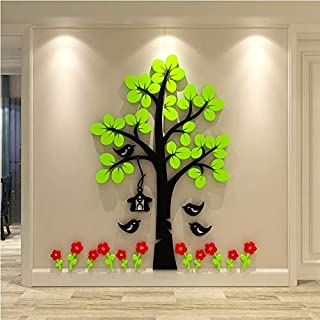 KINBEDY Acrylic 3D Wall Stickers Green Tree and Red Flowers Wall Decal Easy to Install &Apply DIY Decor Sticker Home Art Decor.Green Tree with Red Flowers.