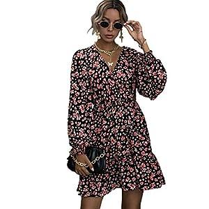 Romwe Women's Bohemian Floral Print V Neck Long Sleeve Swing A-Line Short Dress