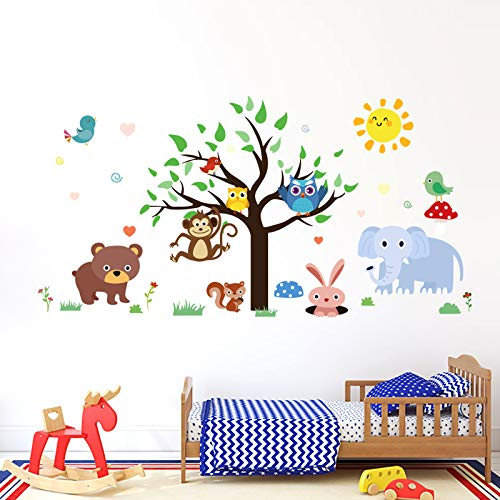 onetoze Wandtattoo Kinderzimmer Tiere Wandtattoo Dschungel Wandtattoo Elefant Wandtattoo Eule Wandtattoo Baum Wandtattoo Vögel Affen Wandtattoo Babyzimmer Junge Mädchen, 92x181cm