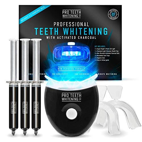 Premium-Zahnaufhellung-Set mit Aktivkohle - Alles in einem zur Zahnaufhellung zu Hause - 5-Punkte LED-Licht - 6 Anwendungen (3 Gel-Spritzen) - Zähne Bleaching Set - Teeth whitening - bleaching Zähne…