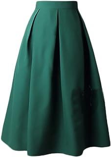 462154656 Faldas Mujer Elegantes Cintura Alta Falda Plisada Años 50 A-Line Vintage  Moda Color Solido