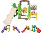 Clarmaro 'Kids Adventure 3in1' Kinder Spielplatz Rutsche mit 140 cm Wellenrutsche, Schaukel und Basketballkorb, Indoor/Outdoor Garten Rutschbahn, Spielturm und Rutsche mit Breiten Stufen...