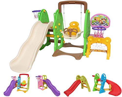 Clarmaro \'Kids Adventure 5in1\' Kinder Spielplatz Rutsche mit 140 cm Wellenrutsche, Schaukel, Fußballtor und 2 Basketballkörben, Garten Rutschbahn, Spielturm und Rutsche Breiten Stufen und Standbeinen