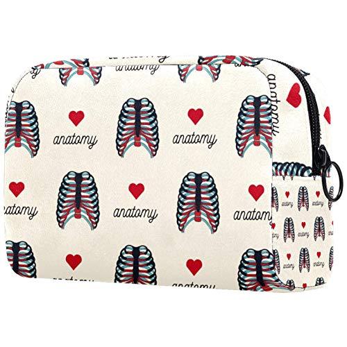 FURINKAZAN Bolsa de maquillaje de viaje con forma de corazón para artículos de tocador, bolsa de maquillaje para hombres y mujeres