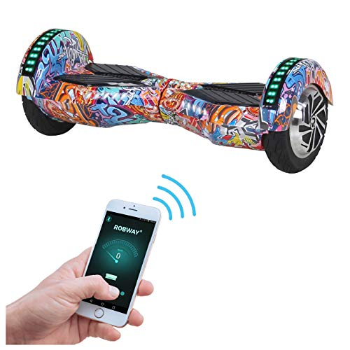 Robway W2 Hoverboard - Das Original - Samsung Marken Akku - Self Balance - 3 Farben - Bluetooth - 2 x 350 Watt Motor - 8 Zoll Reifen (Orange Graffiti)