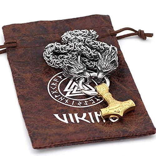 AMOZ Collar con Colgante de Oro con Doble Cabeza de Lobo Y Martillo de Thor, Amuleto de Los Cuervos de Odin de la Mitología Vikinga, Cadena Rey de Acero Inoxidable para Hombre, Estilo 2,60Cm,Estilo 1