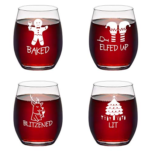 Set of 4 Christmas Stemless Wine Glass - Funny Christmas Themed Wine Glass for Holiday Party Decorative - Unique Christmas Gifts for Family Friends Coworkers or Daily Use 15 Oz