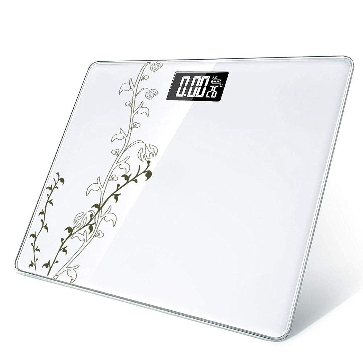 ごちそう精神ラベルXIANRUI 体重計 デジタル 乗るだけで電源オン 温度計機能 メジャー付き 300mm×260mm 0.02KG~180KG対応 (電池付属)