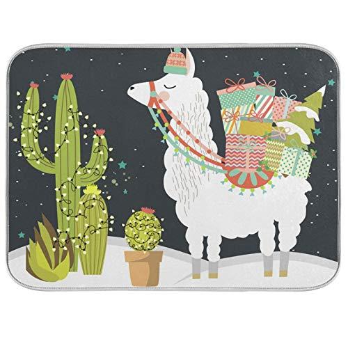 Oarenol Tapete de secado de platos de Navidad Alpaca Cactus Regalo de Navidad Llama Tropical Absorbente para encimera de cocina de 40,6 x 45,7 cm