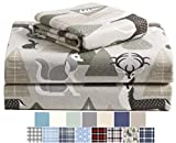 Morgan Home Cotton Turkish Flannel Sheets 100% Brushed Cotton for Supreme Comfort - Deep Pockets - Warm and Cozy, Great for All Seasons (Peaceful Forest, Queen)