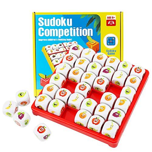 Herefun Obst Sudoku Brettspiel, Logik Sudoku Puzzle Spiele Pädagogisches Brain Teaser Brettspiel, Gesellschaftsspiel Lernspielzeug für Kinder Geschenk ab 3-9 Jahre alt Kleinkinder Jungen & Mädchen