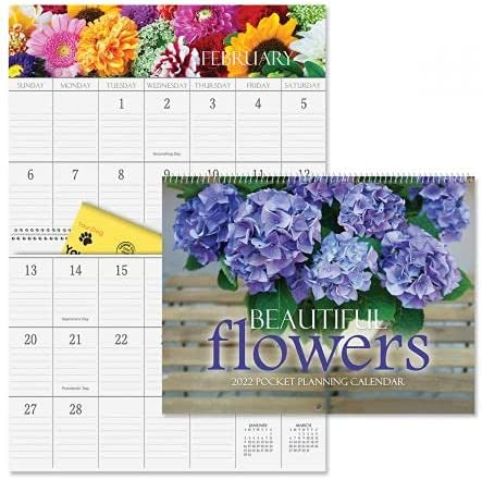 2022 Bargain Beautiful Flowers Cheap mail order sales Big Grid Calendar Pockets Planning with -