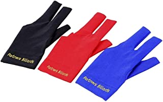 Comidox 3Pcs Man Woman Elastic Lycra Left Hand 3 Fingers Billiard Cue Glove for Shooters Carom Pool Snooker Cue Sport Red&...