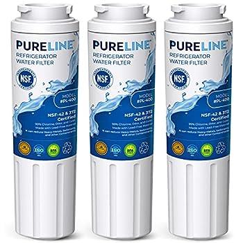 Pureline Replacement UKF8001 For Whirlpool Filter 4 UKF8001 EveryDrop EDR4RXD1 4396395 Maytag UKF8001 Refrigerator Water Filter UKF8001AXX UKF8001AXX-750 FMM-2 WRX735SDHZ00 3-Pack