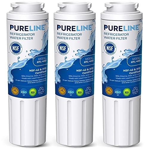 Pureline Replacement UKF8001, For Whirlpool Filter 4, UKF8001, EveryDrop EDR4RXD1, 4396395, Maytag UKF8001 Refrigerator Water Filter, UKF8001AXX, UKF8001AXX-750, FMM-2, WRX735SDHZ00, 3-Pack