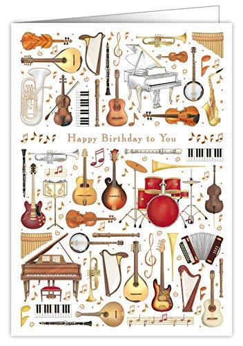 Rustige Collecties Mac Classic Extra Grote Verjaardagskaart - Gelukkige Verjaardag Aan U Muziek Thema Ontwerp - Prachtig reliëf met Goud en Zilver folie
