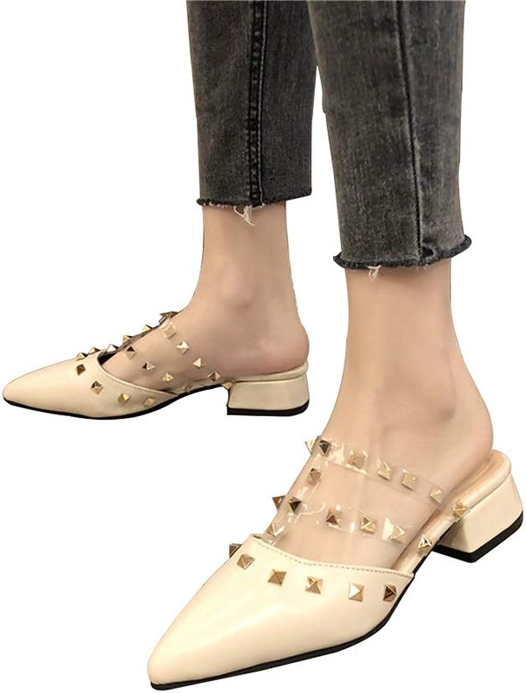 WANGFANG Sandals Women's Slippers, Summer Baotou Studded Slim Slippers Shallow High Heel Slippers, Black White (color   White, Size   US7 EU38 UK5 MX4.5 CN38)