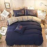 Home Bettwäsche Herz Bettwäscheset Super King Bettwäsche Streifen Flaches Bettlaken Erwachsene Bettwäsche Baumwollset Bettwäsche Set Dunkelblau 220x240cm