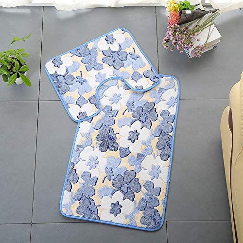 Bath Mats, Bath Rugs Floor Soft Bath Rugs Mat Machine Bath Rug Mat Machine Washable Flower Coral Toilet Seat Cushion Printed Floor Cushion Absorbent Non-slip Cushion (Blue kapok,50*80CM+50*40CM)
