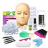 16pcs Eyelash Training Kit, Professional Eyelash Extension kit Mannequin Head Lip Makeup Eyelash