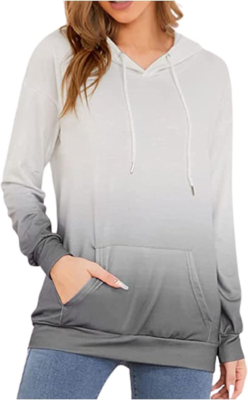Womens Hoodies Pullover Fashion Gradient Printed Long Sleeves Sweatshirt Drawstring Pocket Hooded Tops