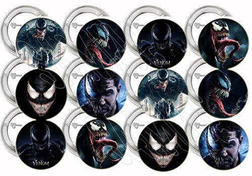 "Venom Buttons Party Favors Supplies Decorations Collectible Metal Pinback Buttons Pins – Large 2.25"" -12 pcs Marvel…"