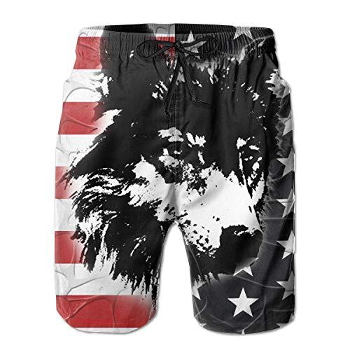Herren Badehose Amerika Flagge auf Wolf Quick Dry Kordelzug Surfing Beach Shorts mit Taschen, Größe M.