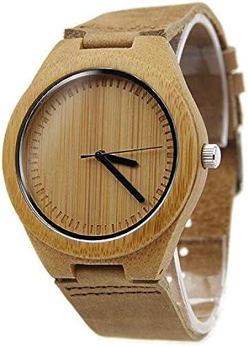 SHIGUANG Nouvelle montre   unisexe   naturel bois   bambou   montre de table en bois   bracelet en cuir   cadeau   portables   accessoires